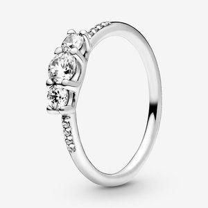 🍓Pandora Clear Three-Stone Ring